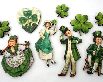 St Patricks Day Wood Cuts - Collection of Shamrocks Leprechauns and Irish Lassies