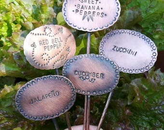 Custom copper hand stamped garden plant markers