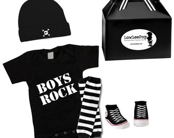 Punk Rock Baby Boy Rockstar Kit black romper one piece layette leg warmers hat Boys Rock converse like booties