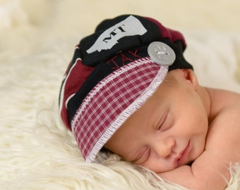 Infant Jax Hat - Montana Grizzly colors - Christmas gift baby - Baby Shower gift - stocking stuffer - baby boy hat - Upcycled recycled hat