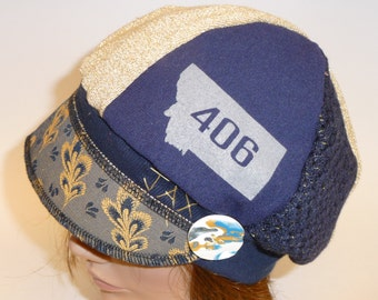 Small - Medium Jax Hats - Bobcats blue and gold plaid - Montana 406 hat - upcycled hat - womens hat - winter fashion hat - jax hat