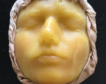 Wax Face from Museum Mounted on Fabric - Vintage Medical Oddity Curiosity Death Mask - #1