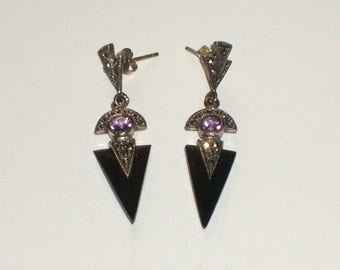 Marcasite, sterling silver and amethyst Cleopatra style post earrings  (free shipping in the USA)