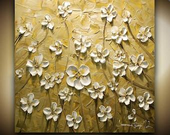 ORIGINAL Large Impasto Landscape Abstract Cream Beige White Flowers Oil Painting Modern Palette Knife Art by Susanna 24x24
