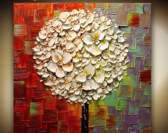 ORIGINAL White Blossoms Lollipop Tree Abstract Contemporary Oil Painting Thick Texture Colorful Modern Art by Susanna Ready to Hang 24x24