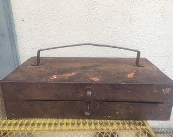Vintage Rusty Industrial Metal Tool Box