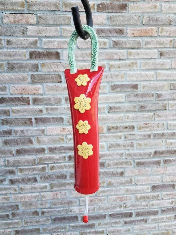 Ceramic Hummingbird Feeder - Bird Feeder - Handmade Pottery - Stoneware - Hanging Bird Feeder - Hummingbird - Bird - Red - Yellow
