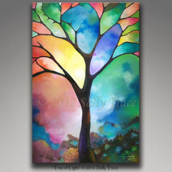 Original painting, tree of life art, colorful wall art, abstract painting, mixed media painting, tree painting, Tree of Light, stained glass