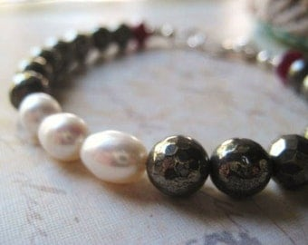 Pyrite Bracelet, Faceted Pyrite Gems, White Pearls, Moonstone Ruby, Sterling Silver, AAA Quality, Strung Bracelet, candies64