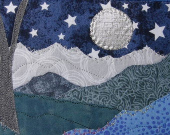 Silver Moon and Stars - Small Quilt Art - Landscape Art - Fiber Art - Fabric Postcard - Nature Art - Mom Gift - Gift for Her - Wall Art