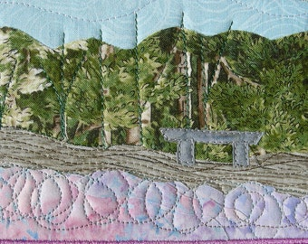 Walk in the Park - Hike Landscape - Handmade Fabric Postcard - Art Quilt - Textile Art - Landscape Art - Nature Postcard - Fabric Art