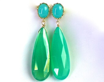 Australian Chrysoprase Long Specimen Grade Drop Earrings with Blue Quartz Post Backs....