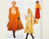 Vintage 70s Pierre Balmain Vogue Paris Original Pattern Coat with Hood Blouse Skirt Uncut Size 12 Vogue 1989 34 Bust