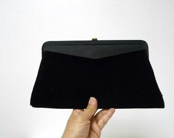 Three in One . 40s 50s black clutch