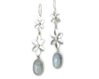 Rose Cut Sapphire Drop Earrings - Light Blue Sapphire Earrings