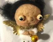 Barb the brunette Angel ooak needle felted ornie