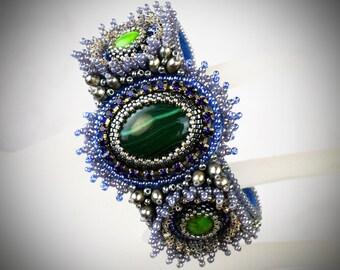 Embroidered bracelet - Elvish Jewelry - Malachite Bracelet - Seed Bead Bracelet - wrist cuff - elven jewelry gemstone jewelry Blue Bracelet