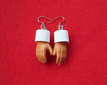 KEN doll hand earrings -upcycled with white caps