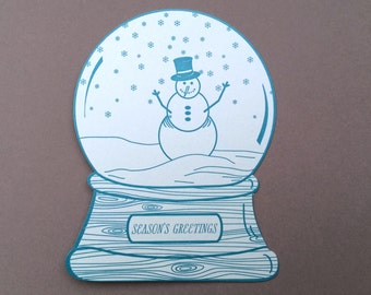 Snowman snow globe, season's greetings
