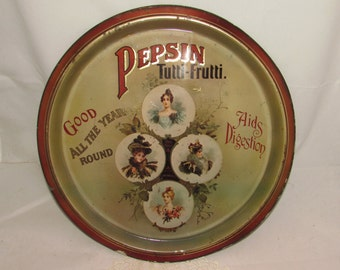 Vintage  Tin Metal Tray, Pepsin Tutti Frutti, replica Harry's Grocery, England, advertising aids degestion, home Decor, Victorian ladies