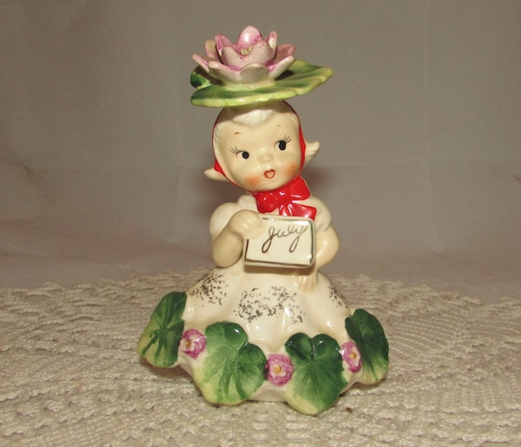 Vintage Napco Flower Of The Month Birthday Girl Figurine
