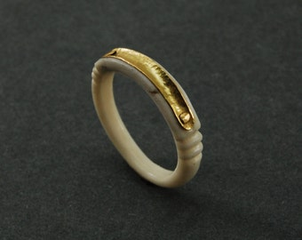 Property ring - cattle bone, 18karat gold