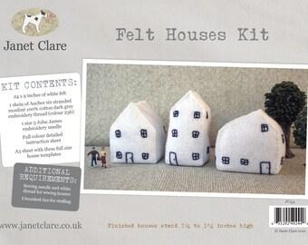 Felt Houses Kit - Create three fun little ornamental felt houses with this lovely kit