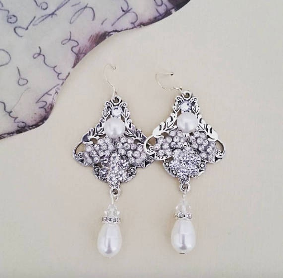 Flower Chandelier earrings, special occasion fashion jewelry
