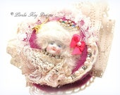 Marie Antoinette Inspired Art Doll Brooch Jewelry Sugary Sweet Assemblage Art Doll  Jewelry Pin Lorelie Kay Original