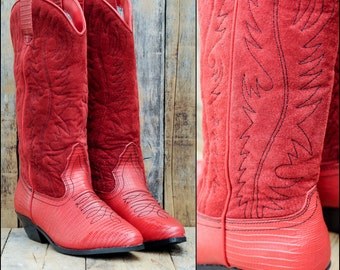 1980s, Red Cowboy Boots, Us 7.5 7 1/2, Uk 5.5, Eu 38, Womens Red Boots, Suede Cowboy Boots, Red Suede Boots, Red Leather Boots, Vintage Boot