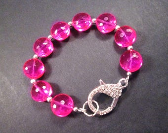 Chunky Hot Pink Bracelet, Faceted Glass Pillow Beads and Pave Rhinestone Clasp, Silver Beaded Bracelet, FREE Shipping U.S.