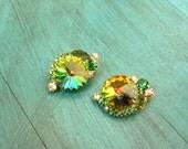 Vintage D&E Juliana Swarovski Crystal Watermelon Rivoli Clip-On Earrings - Vitrail Medium, Rainbow Crystal, Multicolor, Statement Earrings