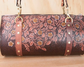 Leather Barrel Bag Purse - Handmade Women's Shoulder Bag in Tooled Western Floral Pattern - One of a kind - Pink and Mahogany