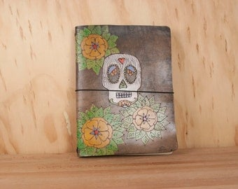 Leather Travlers Notebook  - Midori or Moleskine Cover in the Walden Pattern - Sugar Skull and Flowers - Antique Black