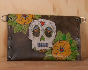 Envelope Clutch - Leather Wristlet, Clutch or Waist Pouch in the Walden pattern with Sugar Skull and Flowers - Day of the Dead