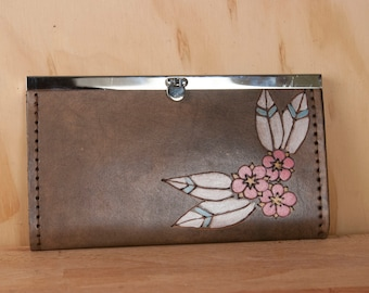 Leather Checkbook Wallet -  Clutch Wallet - Womens Wallet - Dakota pattern with flowers and leaves - Pink and antique black