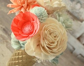 Sola flower bouquet, gold vase, sola wood flower centerpiece, home decor, vase of sola flowers in coral and aqua, ecoflower