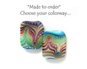 Michal S- Made to order Lampwork 1 rectangle bead choose your colorway
