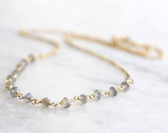 Labradorite necklace - labradorite rondelles on gold satellite chain - simple layering necklace - gold labradorite jewelry