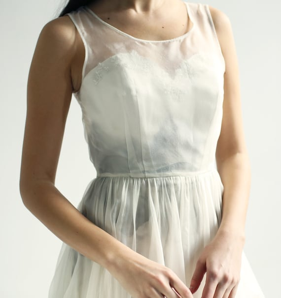 Sample SALE   ivory organza Gown, with gray hand-painted interior lining