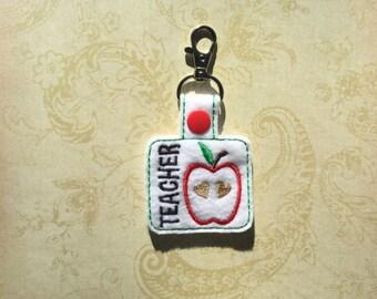 Embroidered Teacher Keychain, Key fob