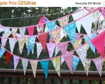 20% OFF Bridal Bunting, Custom 80' of Fabric Wedding Flag Banner Decorations in Your Chosen Colors.  TWO X 40 Foot Bunting
