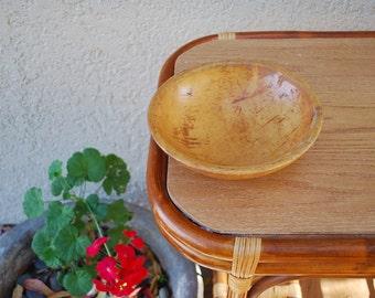 Vintage Wooden Primitive Dough Bowl Parrish
