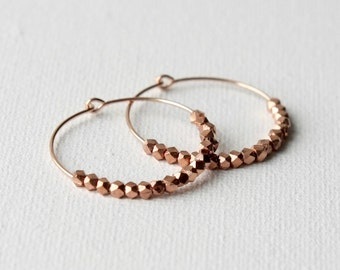 Rose Gold Hoop Earrings, Rose Gold Jewelry, Small Rose Gold Hoops, Everyday Hoops, Faceted Nugget Earrings, Jewelry Gift Women,
