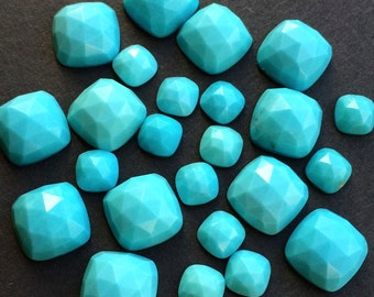 Gemstone Cabochon Turquoise 6mm Cushion Rose Cut FOR TWO