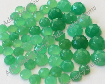 Gemstone Cabochons Chrysoprase 5mm Rose Cut FOR TWO