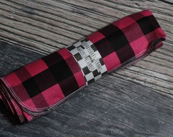 RockerByeBasics Large Newborn baby Swaddle Blanket 36x42 Pink Black Plaid