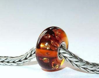 Luccicare Lampwork Bead -  Cognac Diamonds - Lined with Sterling Silver