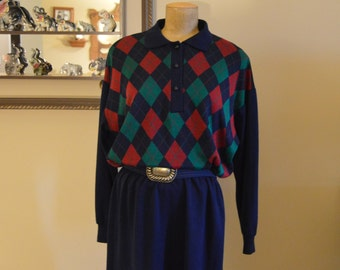 80's Argyle Dress Urban,size 12 ,Good condition,By EJM LTD,Sweater Knit fabric Awesome  Wide Elastic belt Gun metal color X Large Buckle