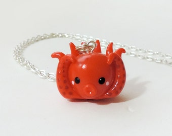 Red Orange Octopus Charm Necklace